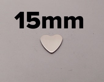 15mm Pewter Heart Blanks - 18 Gauge - QTY 5 - Hand Stamping Supplies