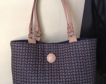 mini tote bag, quilted tote - classy caramel tote