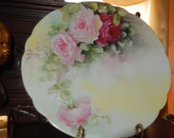 LARGE PLATE with HAND Painted Roses signed V. Susa
