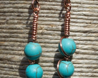 Copper Wire wrapped Turquoise Dyed Howlite Earrings
