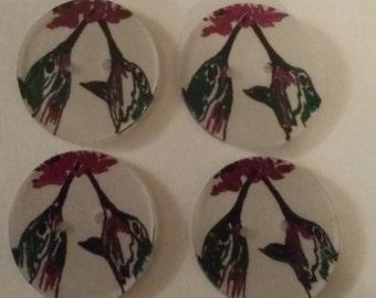 Free Shipping, 4 Handmade Hummingbird Buttons