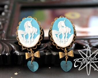 "Unicorn cameo gauges plugs 21mm 13/16"" blue white magical fantasy"