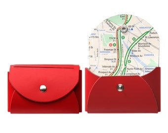 NYC Card Case - Recycled Leather with Real NYC Subway Map