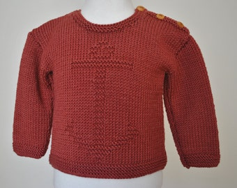 Hand knitted jumper/sweater with cashmere in tan/terracotta/brown size 6-12mths