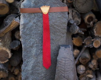 Wood and Leather Skinny Tie for Children - Red