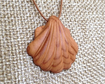 Hand Carved Hardwood Apricot Tree Clam Shell Pendant - wood pendant, natural jewelry, organic jewelry, pendant, necklace pendant, clam shell