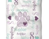 Dog Blanket Personalized with Name Monogram You Choose Colors for your Dog or Cat Soft Washable Fleece Fabric in Two Sizes