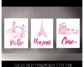 Travel Watercolor Art, London, Paris, Rome, Sketch, Hello Quotes, Wanderlust , Digital Art Print, Travel Quote, Instant Download Set of 3