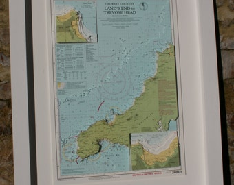 Hand cut 3D nautical relief chart of Lands End