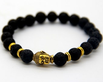 Natural Lava Stone Buddha Bracelet