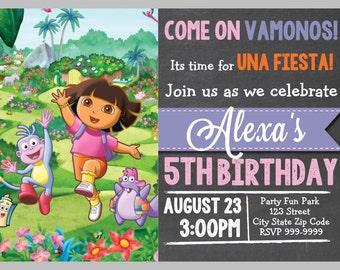 Dora the Explorer Birthday Invitation 4x6 or 5x7