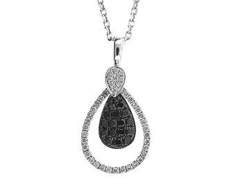 ID: 09973 Diamond (0.30ct) & Black Diamond (0.30ct) Pendant in 18K White Gold