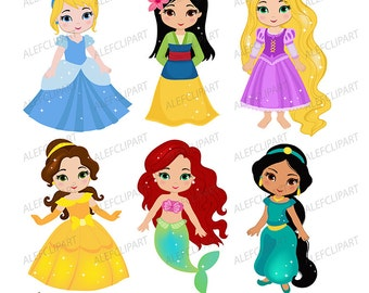 "Classic Princess Digital Clipart: ""PRINCESS 1"" Princess clip art, Princess Clipart for Personal and Commercial Use"