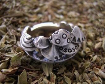 "mushroom rabbit silver jewelry ring "" fungus forest """