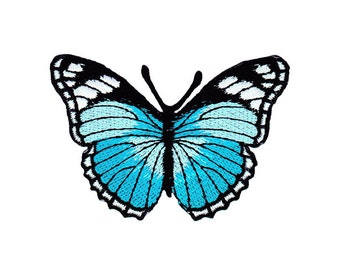 ae47 Butterfly Blue Iron on patches Embroidery Application +++ Free Shipping +++