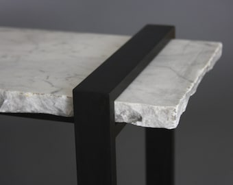 Repurposed Marble and Steel Bench,