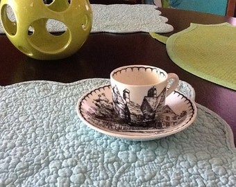 W.R. Midwinter miniature cup and saucer, black and white