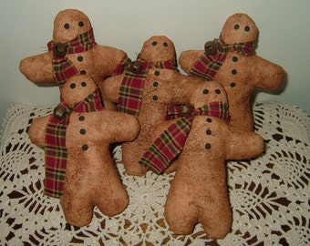 PRIMITIVE GINGERBREAD MEN~Set of 5! Last Ones!