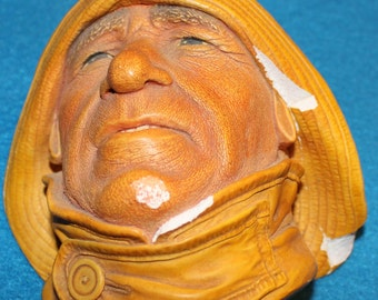 """Bosson Chalkware Head -- """"Lifeboatman"""" from 1965"""