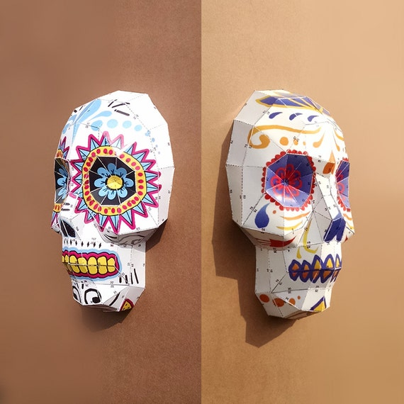 sugar skulls diy papercraft templates by lowpolypaper on etsy