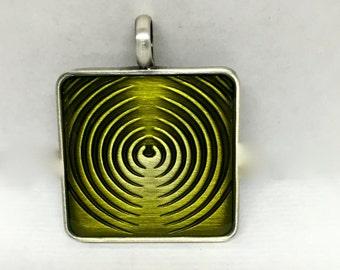 Green Pendant, Green Square Pendant, Green Focal, Pendant, Square Pendant