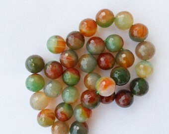 Agate faceted round 14mm varicolor green trend 4 pz
