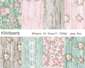 DIGITAL PAPERS, Lace Digital, Papers. Wedding, Wood Digital Papers, flowers papers, instant download.