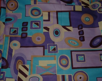 "Retro polyester fabric (purple/taupe/blue) - 62"" x 59"""