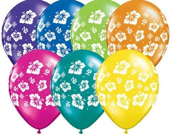 "10 Pack Tropical Hibiscus Flower Tropical Luau 11"" Latex Balloon Party Decoratin"