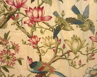 C1750-1780 French Indienne Block Printed Fabric curtains 4 drops