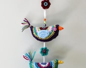Trio of crochet birds wall hanging decoration. Original and unique decoration for the home.
