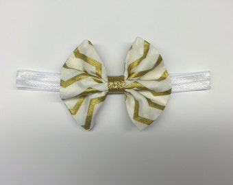White and Gold Chevron Print Bow with White Headband