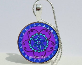 Suzani Periwinkle Blue Pendant Necklace