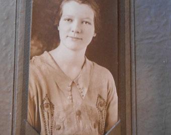 Vintage Original Studio Photo Beautiful Woman Embroidered Dress