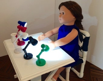 """Desk Lamp, Working & Adjustable for the American Girl 18"""" doll.  Choice of 5 colors!"""