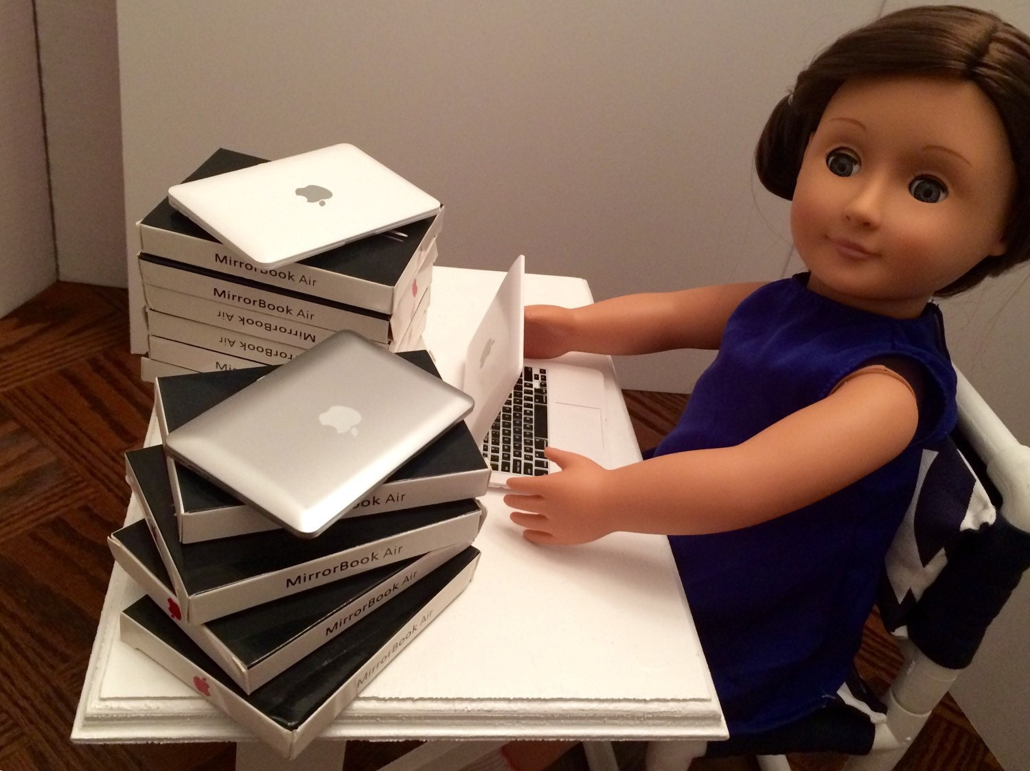 Laptop for the American Girl 18 Doll. A faux Apple