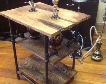 Handcrafted double hookah table. Reclaimed barnwood with black pipe.