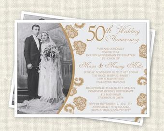 50th Wedding Anniversary Invitation, Digital, Printable File
