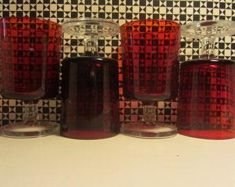 "LUMINARC/ARCOROC  ""Cavalier"" French vintage iconic Ruby Wine Glass - 1970s"