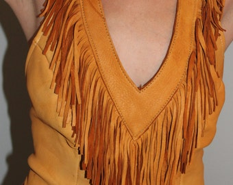 Boho/Hippie/Gypsy/ Saddle colored deer skin leather halter top