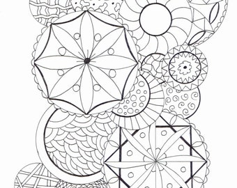 Adult colouring page - circles