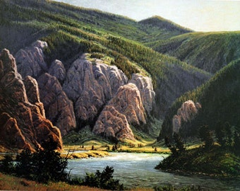 Bear Trap Canyon in Montana - Limited Edition lithograph print