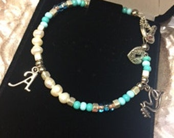 Flying Dove Sky Blues with Initial Charm Bracelet