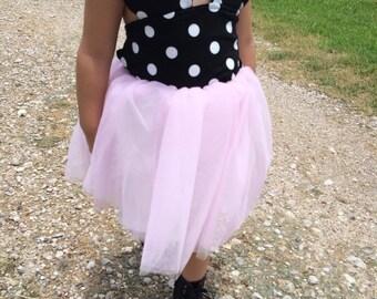 Pink Minnie Mouse dress polk-a dot tulle dress baby girl toddler girl cute birthday dress