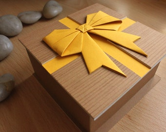 Yellow Origami Bow Presentation Gift Box with by DPJ Designs