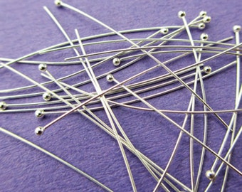 New 25mm 30ga 925 Sterling Silver Light Weight Ball Ended Headpins 50pcs