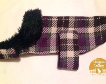 Purple check handmade dog coat