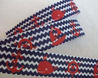 Whales, Anchors, Ship Wheels and Boats Grosgrain Ribbon 7/8""
