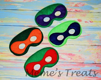 Deluxe Felt Mask -- Kids Mask – Inspired by Ninja Turtles -- Costume – Dress-Up -- Halloween -- Pretend Play -- Party Favor