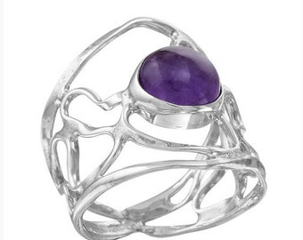 Amethyst Ring, Sterling silver ring, Rings with stones, Silver and stone jewellery, Rings for women
